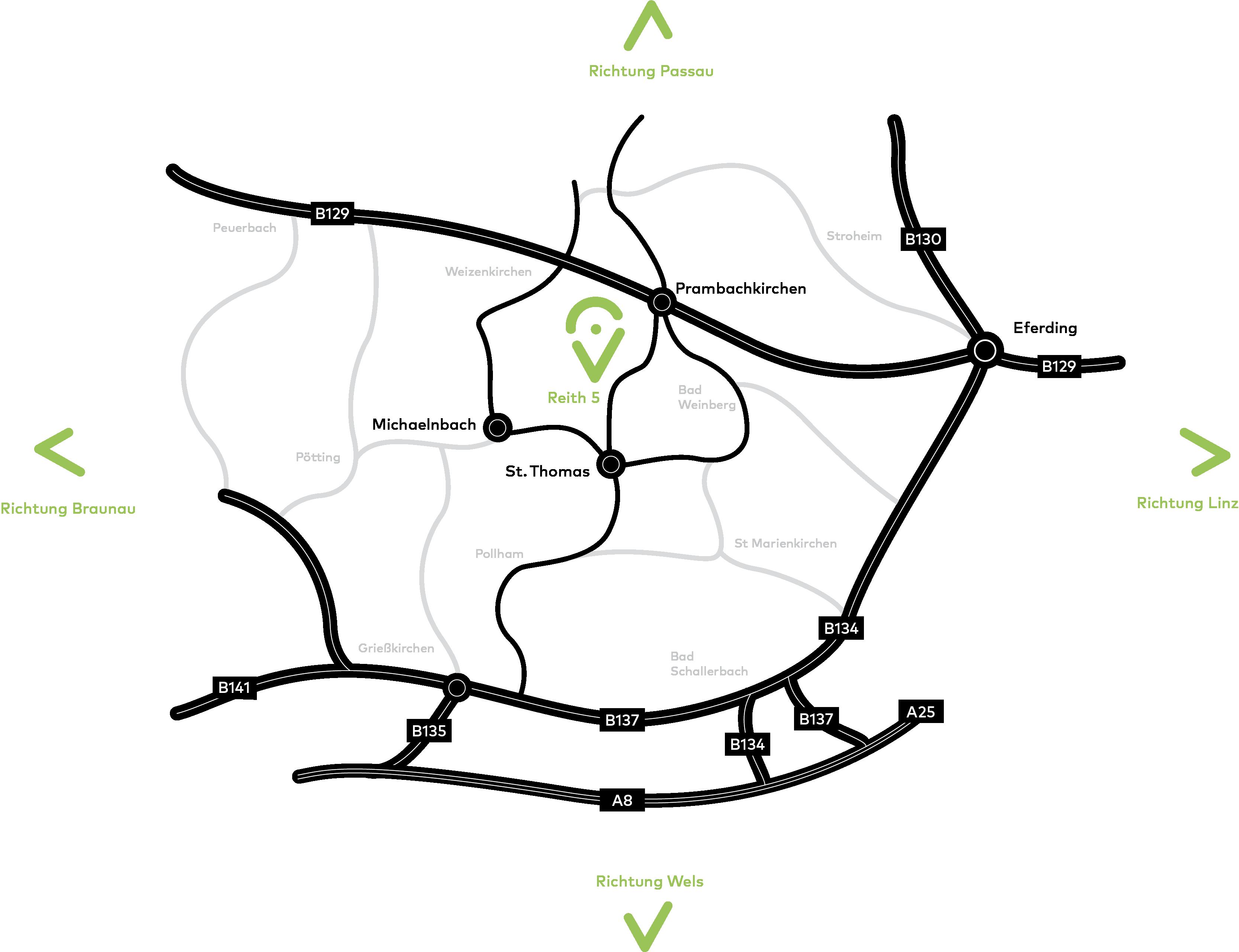 Das Bild zeigt eine Anfahrtskarte zum Hof mit verschiedenen Wegen aus verschiedenen Richtungen.