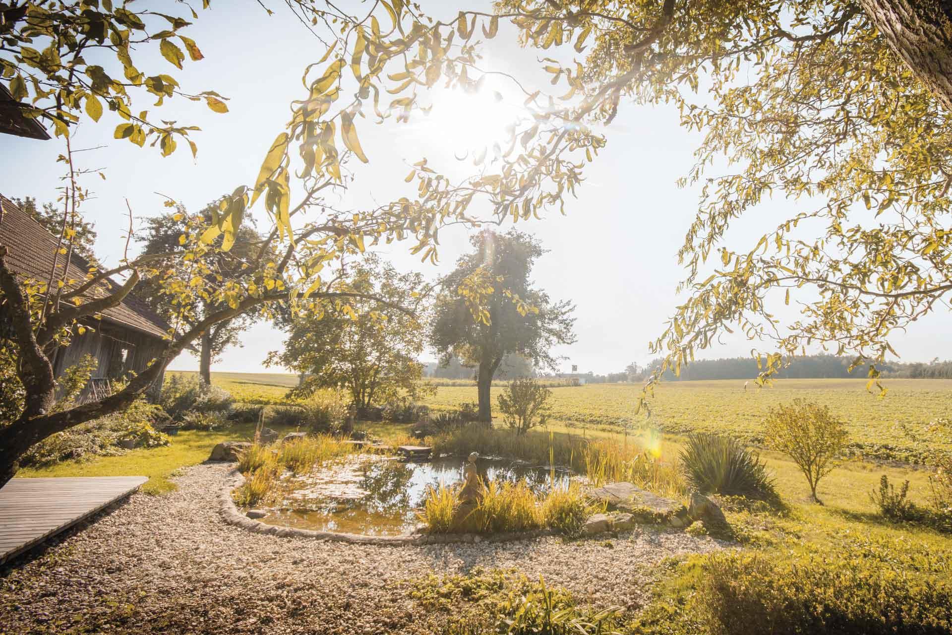 Das Bild zeigt den Teich und den wunderschönen Garten mit Blick auf Wiesen und Wälder.